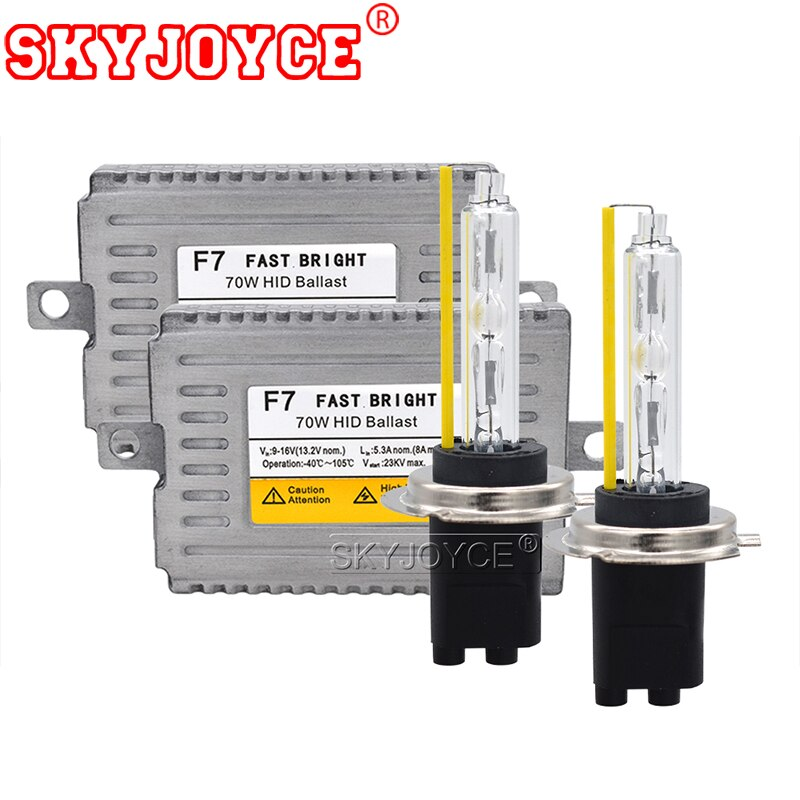 Skyjoyce 70 w xenon h7 hid kit 5500 k h1 h7 h3 hb3 h11 9012 d2h lâmpada do farol carro ac 12 v 70 w rápido brilhante dlt f7 reator xenon kit