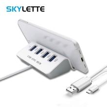 4-port USB 2.0 Type-C Combo HUB OTG Adapter No APP Need ABS Phone Holder Multi USB C Splitter For Xiaomi 6 GALAXY S8 Macbook Pro