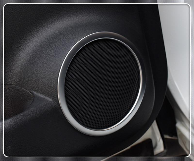 For Hyundai Kona Encino Kauai 2018 2019 ABS Chrome Inside Door Audio Speak Speaker Sound Ring lamp trim  Car Accessories Styling