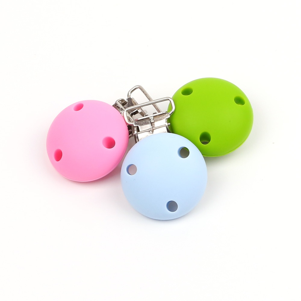 TYRY. HU 20 unids/lote Clip de chupete redondo de silicona para bebé, Clip de chupete para la dentición, cierres de juguete DIY, Clip de silicona