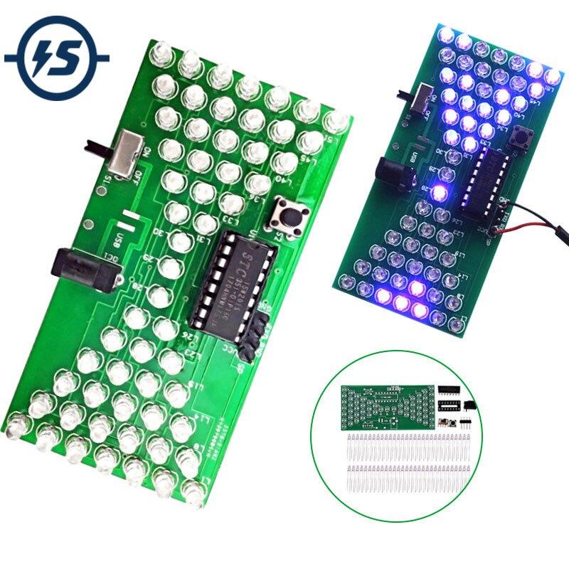 5 v ampulheta eletrônica diy kit engraçado kits de produção elétrica precisa com lâmpadas led dupla camada pcb placa diy eletrônico