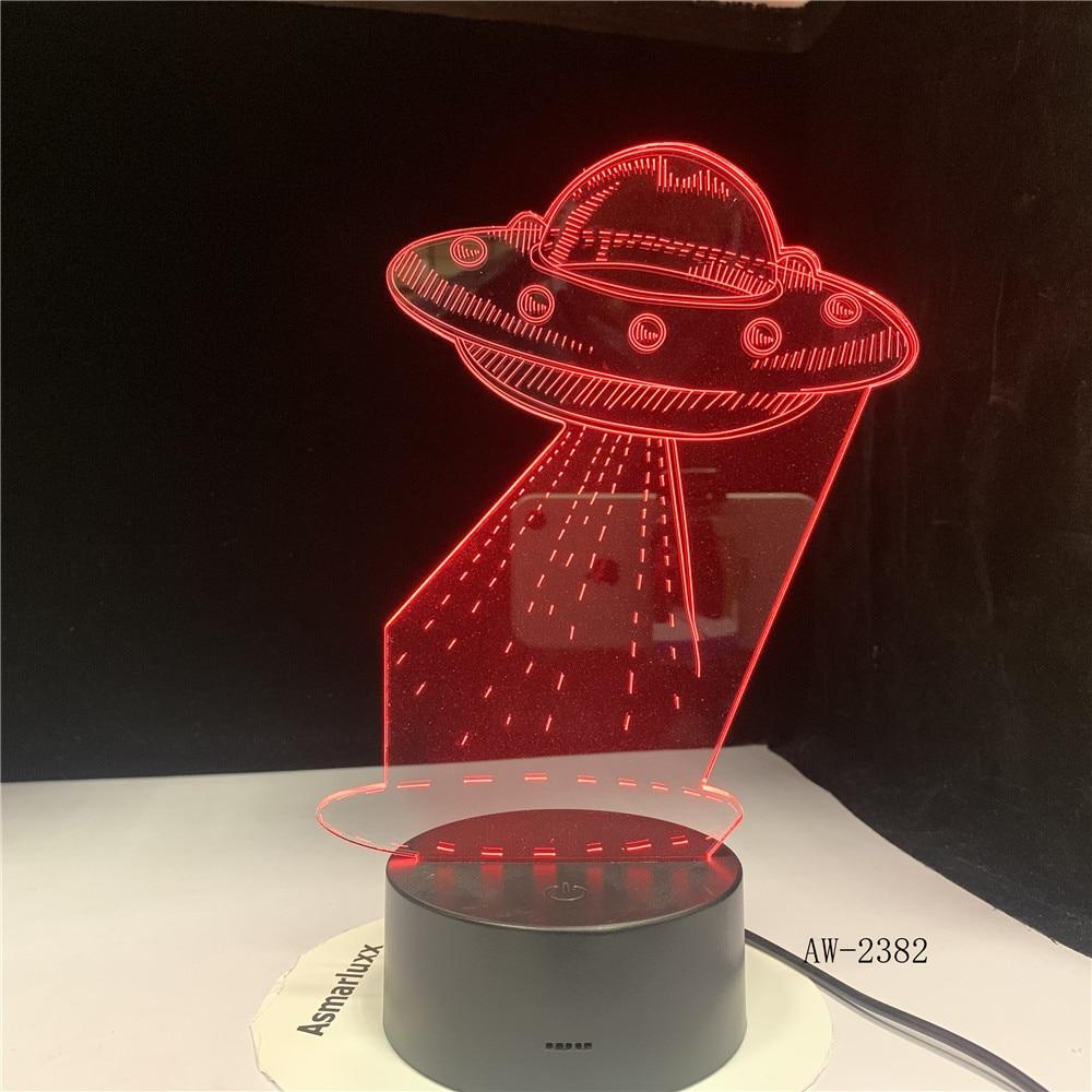 UFO Alien nave espacial acrílico 3D RGB luces de noche USB LED Sleep lámpara de mesa decoración remota del hogar regalo de Navidad 3D-2382