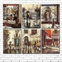 Peinture a lhuile sur toile imprimee sur toile  decor de batiment de cafe  decoration murale  maison  livraison gratuite