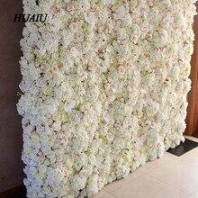 Mur de fleurs artificielles 60*40cm   Fleurs dhortensia de roses artificielles, fleurs darrière-plan pour mariage, accessoires de décoration pour fête de mariage à domicile
