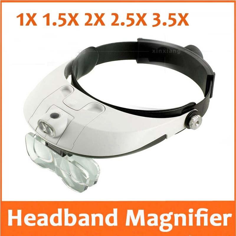 1X 1.5X 2X 2.5X 3.5X Iluminação LED Headband Capacete Lupa Cabeça Viseira Lupa Cirúrgica Dental Reparo Do Telefone Móvel