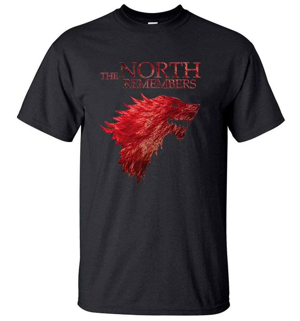 ¡Producto en oferta! Juego de tronos casa Stark El Norte recuerda camiseta hombres 2020 verano 100% algodón de alta calidad camisetas para hombres S-XXL