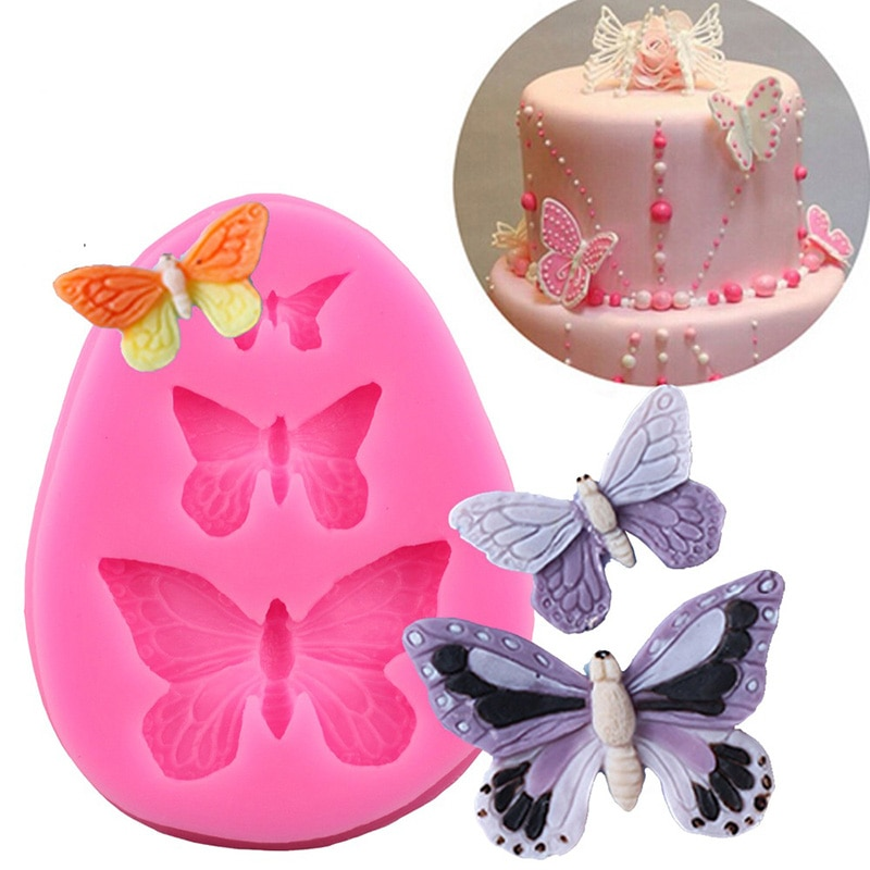 3in1 borboleta silicone molde de bolo ferramenta de cozimento para bolo formas de silicone moldes de bolo fondant decoração do bolo acessórios de decoração