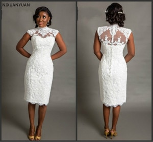 2021 White Short Wedding Dresses Sexy Lace Wedding Dress Bridal Gown Knee Length Ivory Vestido De Noiva Curto