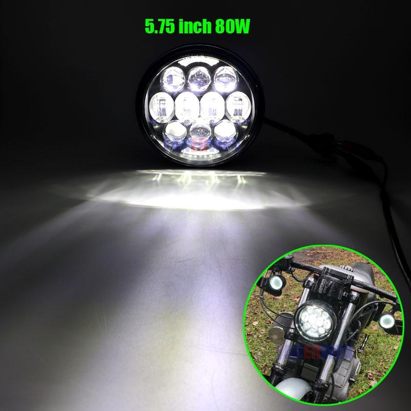 Proyector de faro redondo LED Hi/Lo de 5,75 pulgadas y 5-3/4 pulgadas con anillo lumínico tipo Ojos de Ángel para motocicletas/Bicicletas