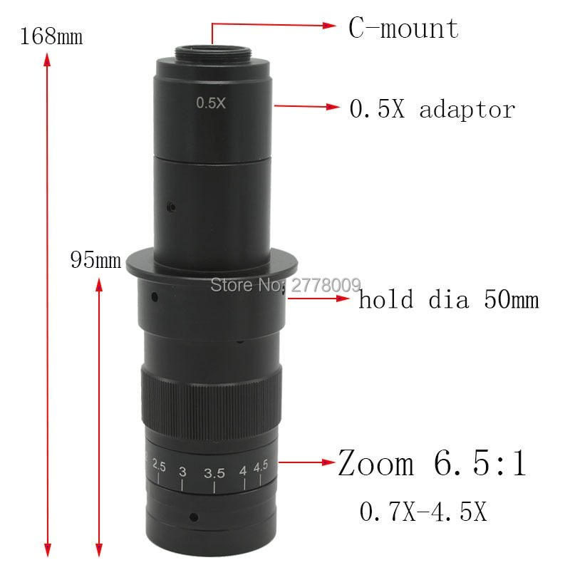 10X ~ 180X aumento ajustable 25mm Zoom c-mount Lens 0.7X ~ 4.5X industria Monocular Video microscopio lupa de ocular