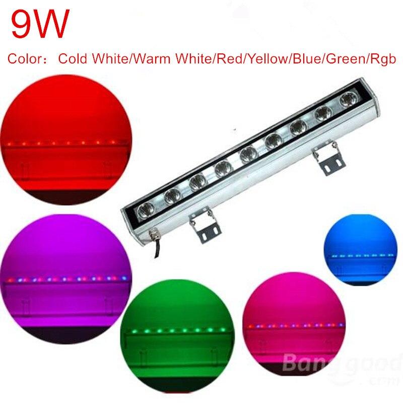 9 واط مصباح أدت الفيضانات ضوء ip65 أدى الجدار غسالة مصباح 12 فولت 24 فولت ac85-265v أبيض أحمر أصفر أزرق أخضر rgb جدار غسالة