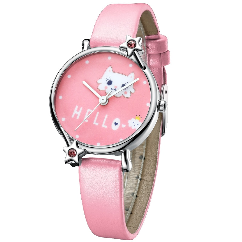 KDM Cute Girl Watch Cartoon Cat Child Watches Kids Waterproof Pink Leather Lovely Kids Children Watches Students Clock big sale girl leather strap watch cute women wristwatch child mickey mouse watches girls fashion time lovely hour new pink kids