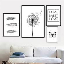 Toile à pissenlit noir blanc minimaliste   Toile dart, imprimés de plumes et daffiches papillon, images murales pour décor de salon, AL143