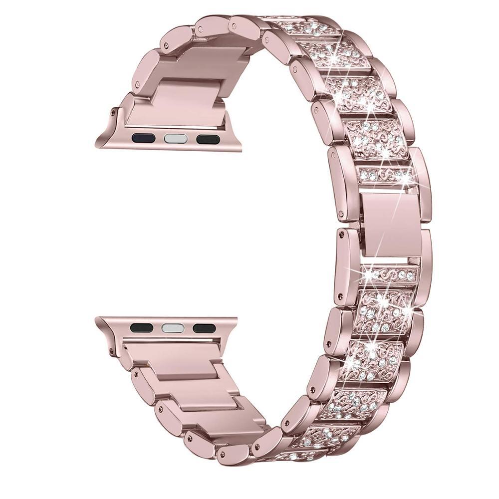 Женский ремешок для Apple Watch band 40 мм 44 мм iWatch band 38 мм 42 мм Блестящий браслет из нержавеющей стали ремешок Apple watch 5 4 3 21 38 40
