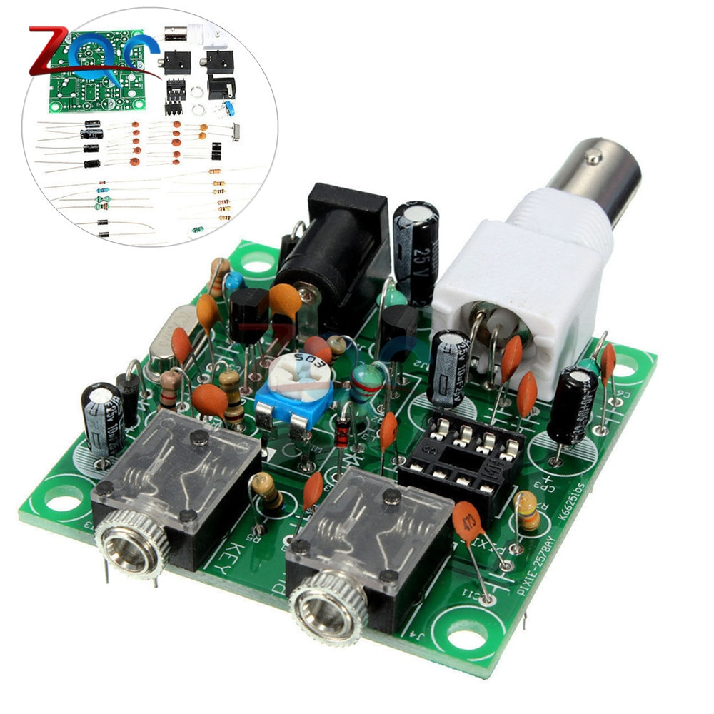 DIY Kit de RADIO 40M CW corto transmisor de ondas QRP Pixie Kit receptor 7.023-7.026MHz corto transmisor de ondas DC 9 V-14 V