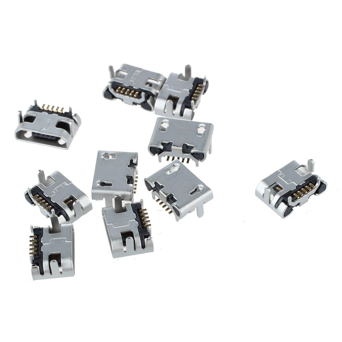 Разъем Micro USB 10 шт., 5-контактный разъем usb для зарядки, гнездовой разъем для MP3/4/5 Huawei Lenovo ZTE и других мобильных телефонов