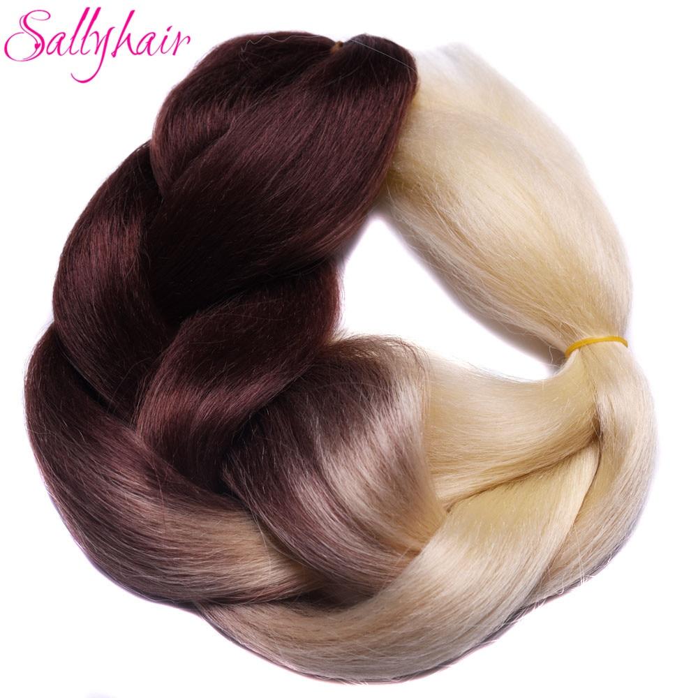 Ombre Synthetic Braiding Hair 3 Tone Color Sallyhair 24inch Crochet Jumbo Braids High Bulk Hair Extensions Brown Blonde Grey