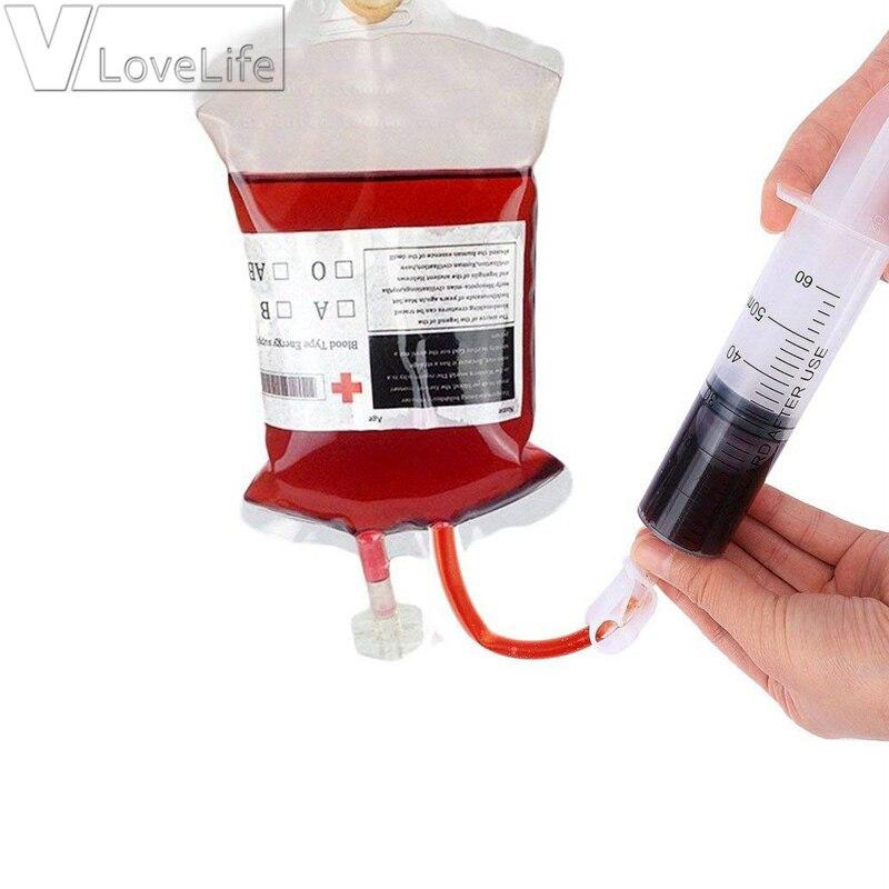 Bolsa de bebida de PVC transparente para jugo de sangre de 10 Uds., bolsa de bebida para Halloween, decoración de 350ml con jeringa, barra de bebida, bolsa para bebidas para fiestas