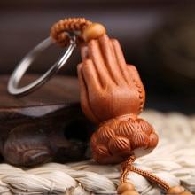 LLavero de Yanting madera de Durazno palm, llavero de loto, Buda, palma, llavero clásico, colgante para bolso, Dijes, Joyería para hombre al por mayor 049