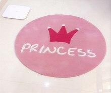 Tapis rond la couronne princesse rose pour enfants   Coussin, panier pour ordinateur, joli tapis de jeu, tendance, pour chambre à coucher