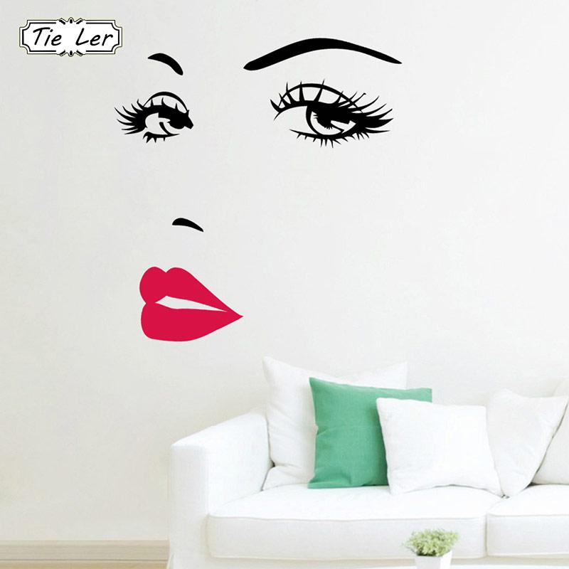 Decalques de arte Menina Lip Olhos Adesivos De Parede Vivendo Decoração Do Quarto DIY Decoração Da Casa de PVC Papel De Parede Vinil Decalques Arte Poster