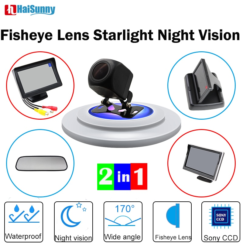 Cámara de marcha atrás de coche con Mini Monitor de coche espejo Monitor plegable HaiSunny 170 ángulo de visión nocturna con visión nocturna 720P ojo de pez