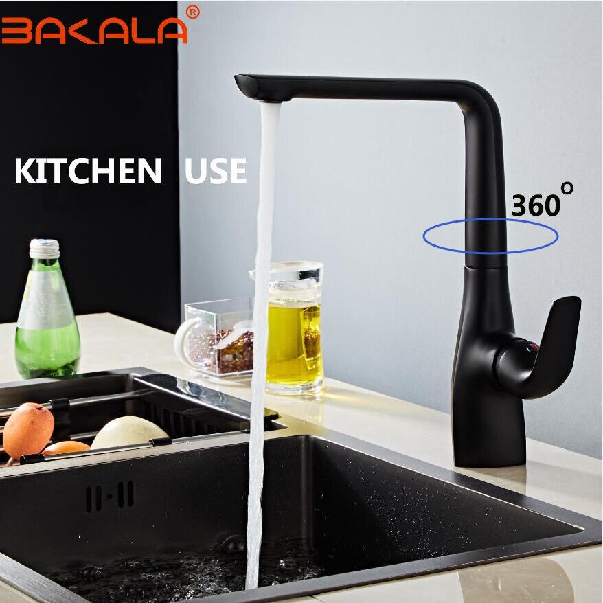 Grifo de cocina negro puro 360 ronating blackend fregadero grifo de cocina fría y caliente mezclador grifo ennegrecido cocina/baño mixe