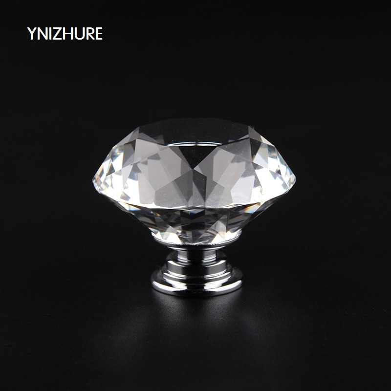 Furniture Accessories 40MM Clear Crystal Glass Diamond Cut Door Knobs Kitchen Cabinet Drawer knobs+Screw Home Decorating