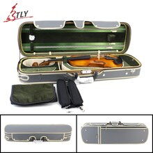 High Grade Rectangle Violin Case Plywood & Gray Imitation Leather+Green Pleuche w/ Belt for 4/4 3/4 1/2 1/4 1/8 Violin