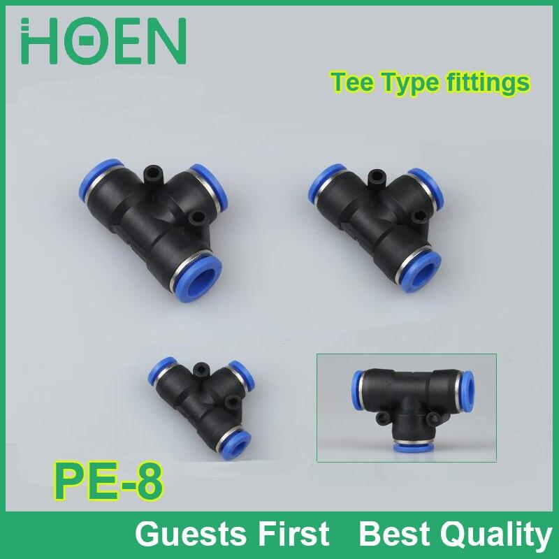 100 шт./лот, синий цвет, PE8, 8 мм, тройник, пневматический быстроразъемный соединитель, нажимная трубка, фитинги, PE-4, PE-6, PE-8, PE-10, PE-12, PE-14