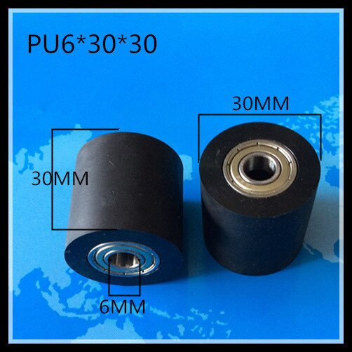 2 uds PU interior de caucho 5mm 6mm 7mm 8mm 10mm rodamientos ferrocarril Guid rueda poleas 30mm * 30mm rodamiento de PU