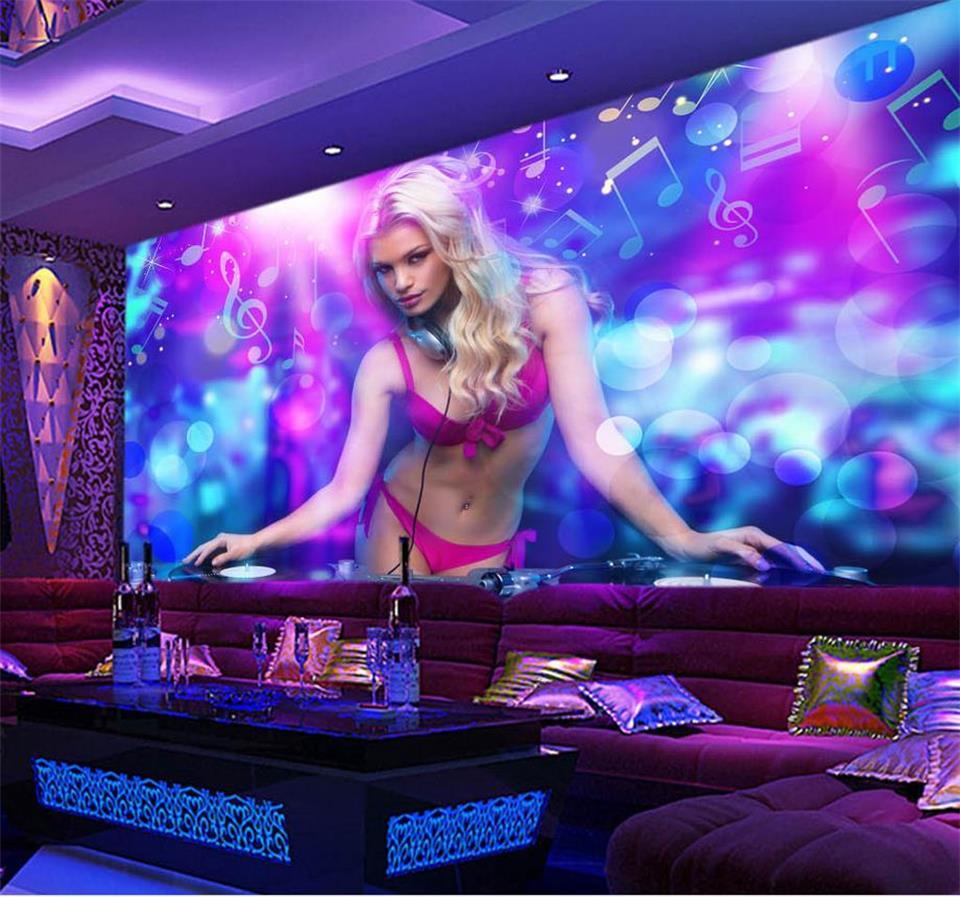 Papel pintado 3d personalizado mural de Foto sala de estar sexy DJ belleza 3d pintura bar KTV sofá fondo no tejido papel tapiz para paredes 3d