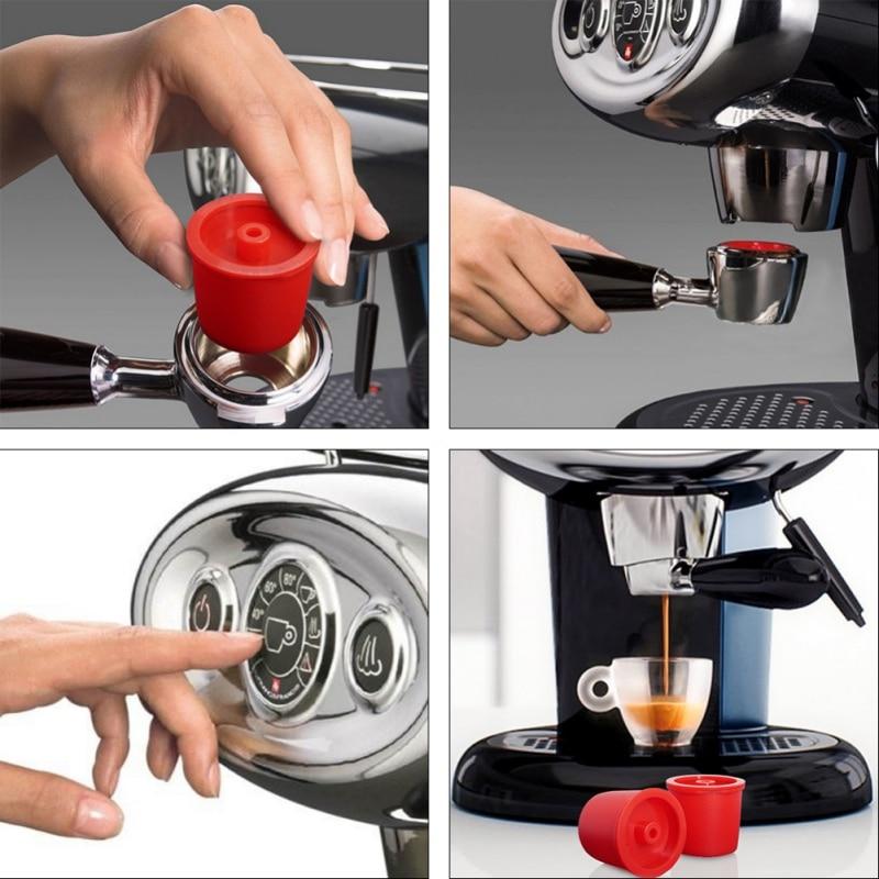 Taza de plástico de acero inoxidable reutilizable, para cápsulas rellenables con filtro de café Illy, color aleatorio