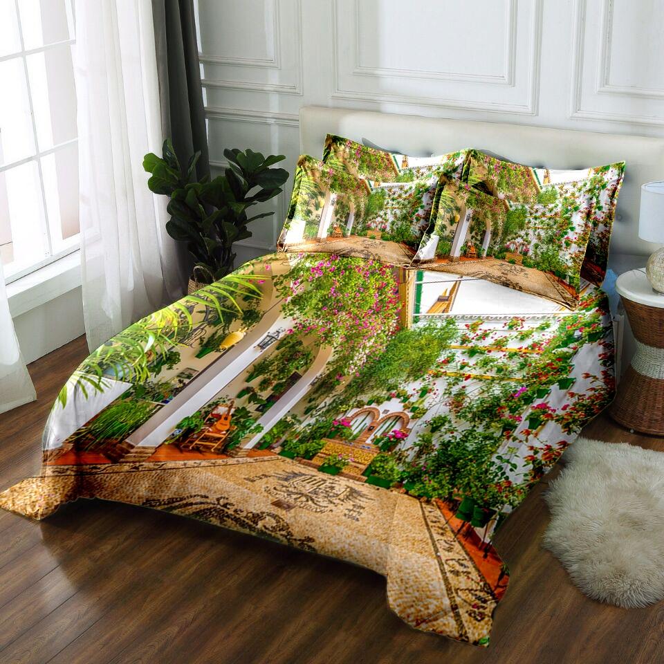 Juego de cama floral 3D, sábanas, edredón, funda de almohada, funda de cama doble, rey de California, ropa de cama, Textiles, decoración de envío directo