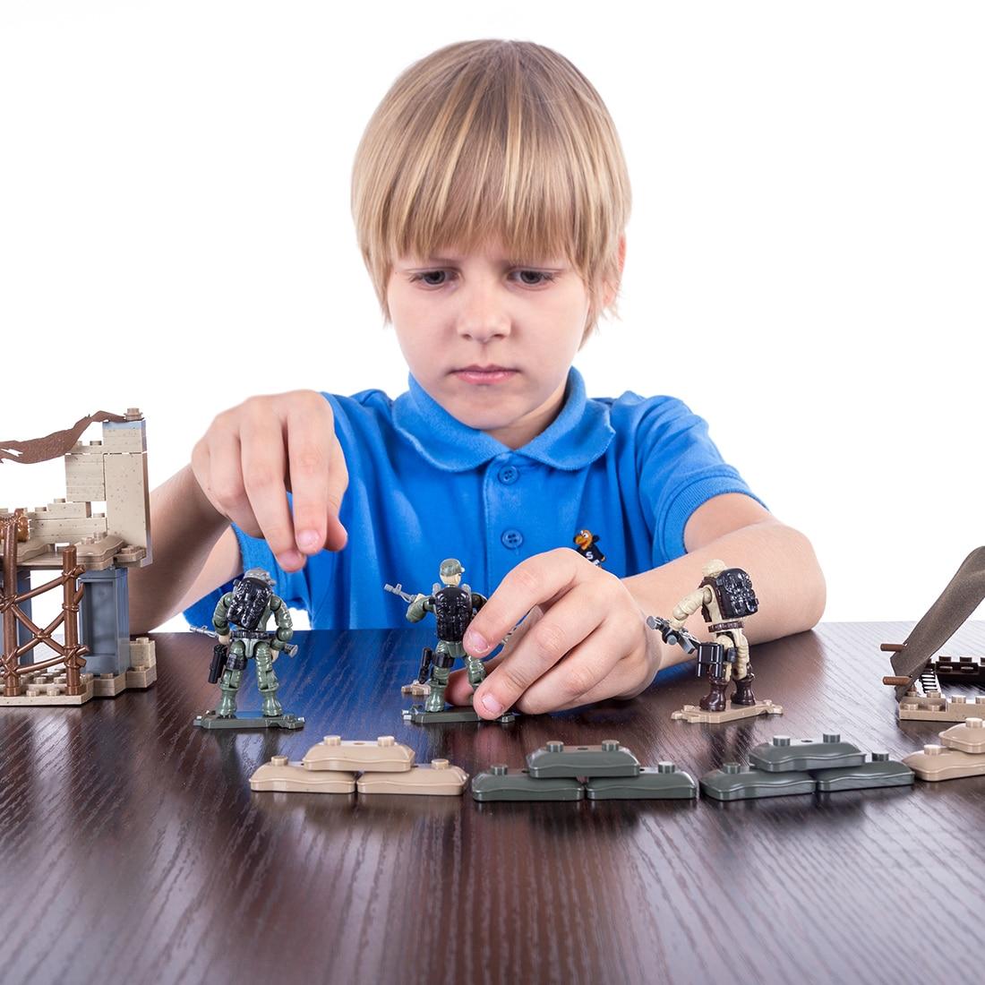 Minimuñeco de bloques de construcción para niños de la serie militar Lone Wolf Camp, regalo de Navidad