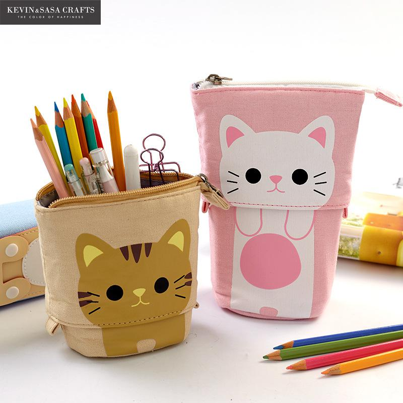Flexible Big Cat Pencil Case Fabric Quality School Supplies Stationery Gift School Cute Pencil Box P