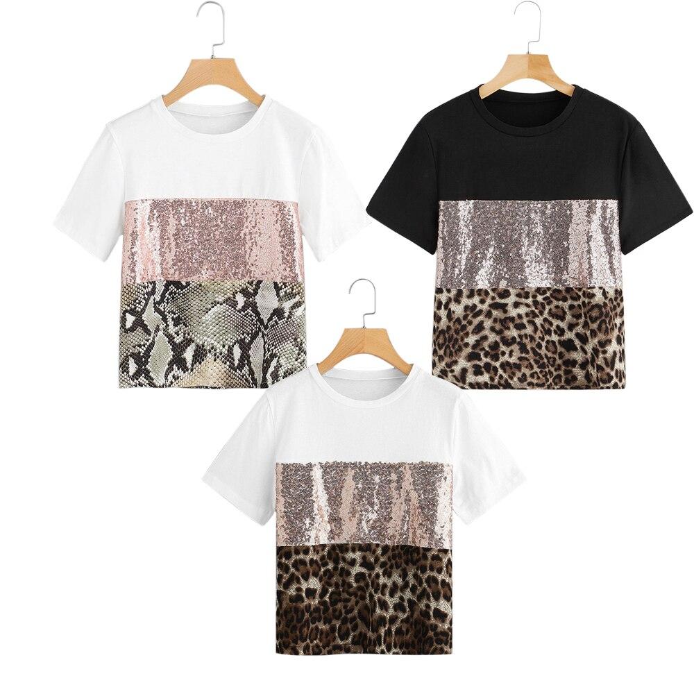 Camiseta con Panel de lentejuelas en contraste de 2019 Posh, ropa de cuello redondo para mujer, ropa de calle Chic, camiseta de manga corta para verano, camiseta para mujer