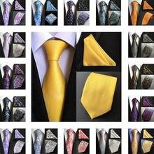 2019 Silk Floral Polka Dot Geometric Classic Paisley Neck Tie&Pocket Square Hanky Suit Set Wedding Party Business Tie TA01-55