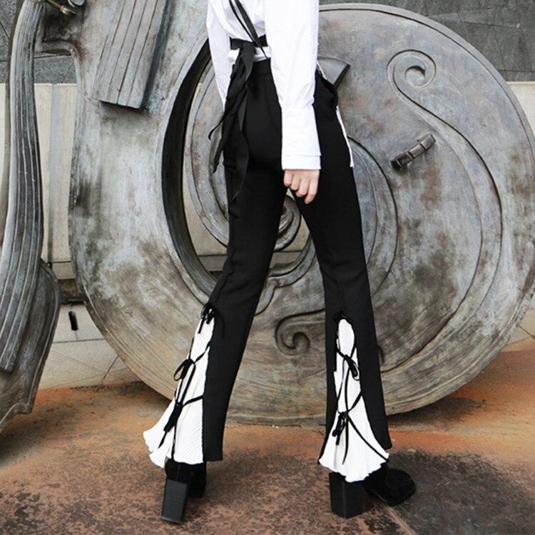 Mulheres da moda Primavera Calças de Lazer Restauração Imprensa Dobrado Gravata Borboleta Sino Calças boot cut preto flare calças pantalon