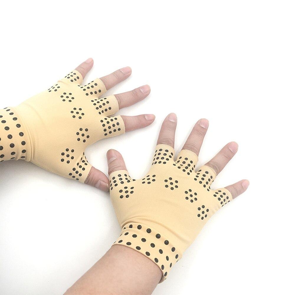 ¡Nuevo! 1 par de protectores magnéticos para aliviar el dolor de la artritis, soportes para las articulaciones, herramienta de cuidado de la salud, guantes para terapia, protección sin dedos
