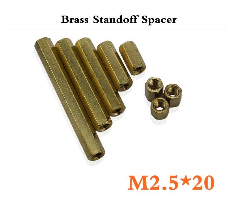 New Best Promotion 500pcs/lot  M2.5*20mm Hexagonal Net Nut Female Brass Standoff/Spacer Long Lasting High Quality