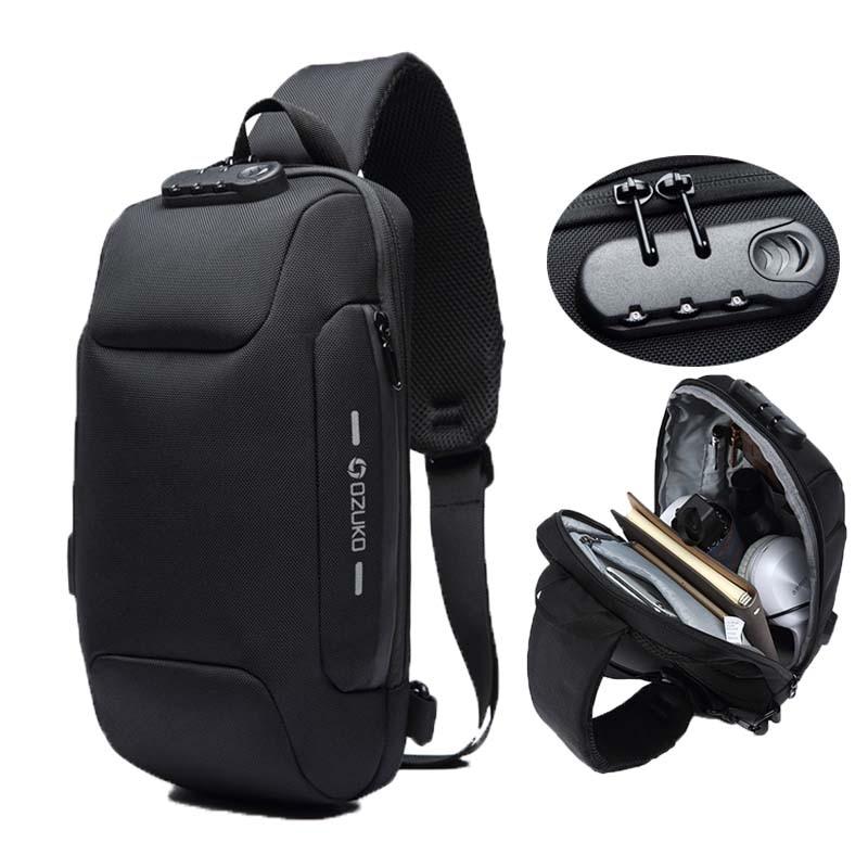 OZUKO Fashion Messenger Shoulder Bag Anti-theft USB Charging Chest Pack Crossbody Bags for Men Sling Bag Fashion Phone Bags