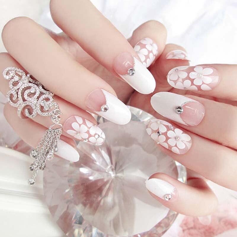 24 Uds uñas postizas largas con pegamento boda uñas puntas Nude faux ongle blanco diseños de flores uñas cubierta completa uñas plásticas