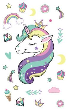 Tatuaje temporario a prueba de agua tatuaje falso adhesivo unicornio caballo Arco Iris tatuaje tatuajes pegatinas para niños niña Niño
