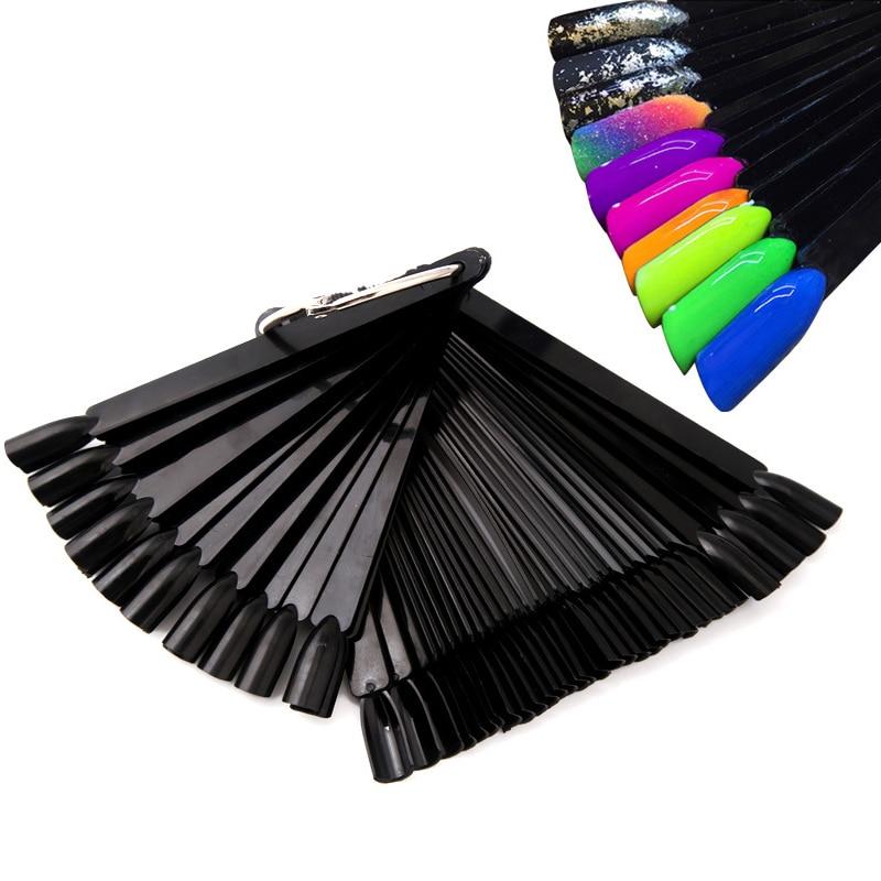 Présentoir pour ongles 50 pièces noir faux ongles faux ongles Uv Gel vernis couleur pratique ventilateur couleur échantillon graphique manucure outils boucle anneau