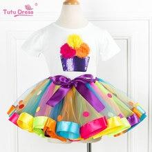 Ensemble de vêtements 2 pièces pour filles   T-Shirts + jupe Tutu, tenue de fête anniversaire, manches courtes, imprimé de fleurs, pour bébés enfants