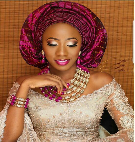 Incrível fúcsia rosa nigeriano casamento contas de ouro conjuntos jóias noivas africanas presente colar pulseira brincos definir navio livre wd958