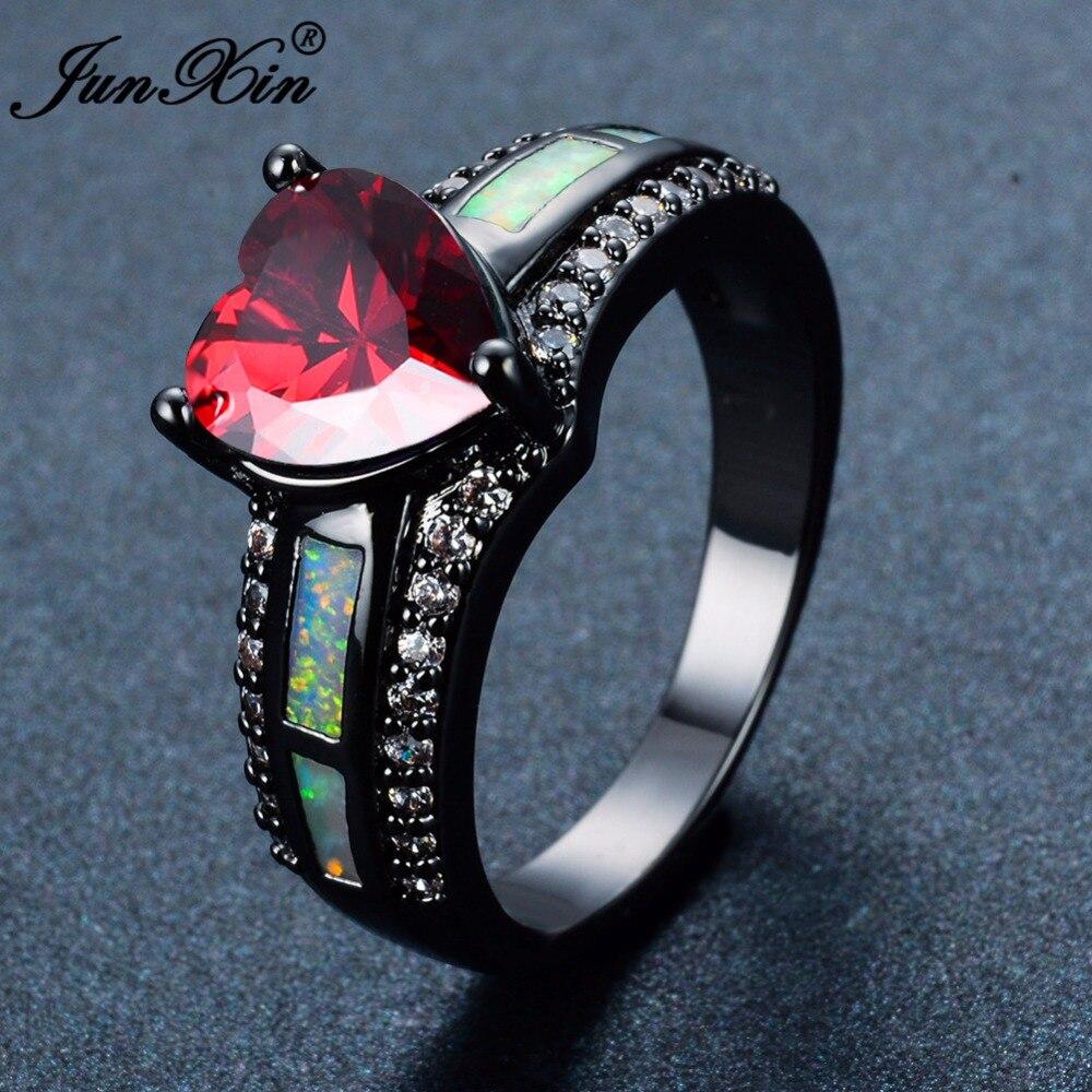 Anillo JUNXIN para hombre y mujer, azul/verde/piedra circonita púrpura, anillos de ópalo de fuego blanco a la moda para hombres y mujeres, anillo de boda Vintage