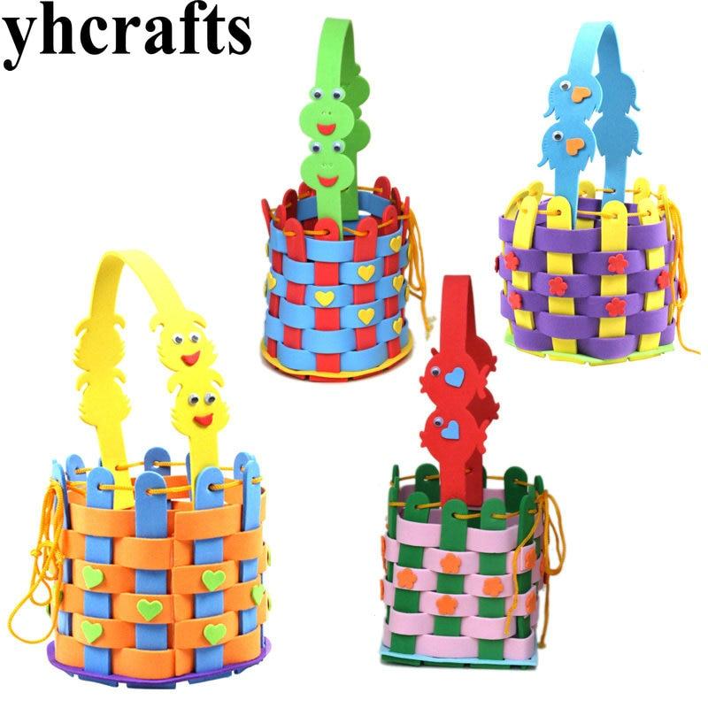4PCS/LOT.DIY your own hand basket craft kits Kids bag Activity items Kids toys Creativity developing Kindergarten crafts OEM
