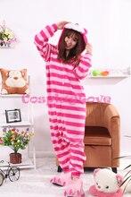 Cheshire Cat Pajamas Animal Cosplay Costume Kid Adult Pajamas Onesies Cartoon Sleepwear Sleepsuit